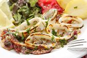 grilled squids with salad - portuguese style