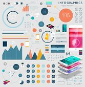 Set of Infographics Elements, Flat Style and Line Icons. Mobile Phone and Tablet PC Templates. Mobile Technology Concept. Diagrams and Charts for Business Design.