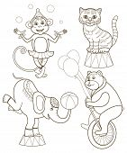set of cheerful circus animals (vector illustration for children's coloring books)