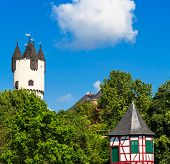 Castle Park with Donjon tower and Customs Tower in Hanau-Steinheim, Germany