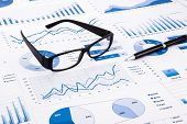Blue Business Charts, Graphs, Document And Paperwork