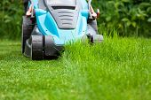 Blue Lawn Mower On Green Grass. Cut The Grass
