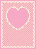 Vector Striped Background With Heart Shaped Copy Space and Victorian Eyelet Trim