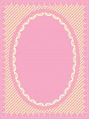 Oval Vector Frame of Victorian Eyelet on Heart Trimmed Striped Background