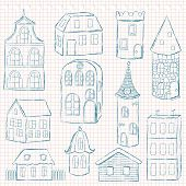 Set of  houses on checkered page