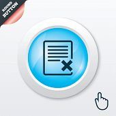 Delete file sign icon. Remove document symbol.