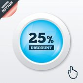25 percent discount sign icon. Sale symbol.