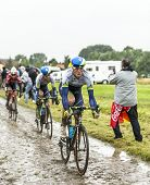 The Cyclist Mathew Hayman On A Cobbled Road - Tour De France 2014