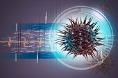 foto of viral infection  - virus 3d image in attractive color background - JPG