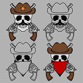Cowboy Skull Mascot