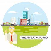 Geek Businessman Urban Landscape City Real Estate Agency Cars Road Modern Flat Design Icon Template