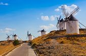 Ancient windmills in the sunny summer day Konsuegra
