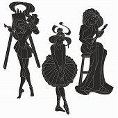 Vector silhouettes of art women. Artist musician ballerina