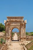 image of libya  - Beautiful view of Arch of Septimus Severus Leptis Magna Libya - JPG