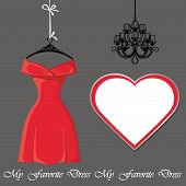 Little Red Dress With Label And Chandelier