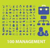 100 management, business, marketing icons, signs, symbols set, vector