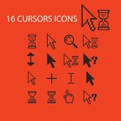 16 cursors, interface, arrows, select, modify icons, signs, symbols set, vector