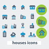 houses, buildings icons set, vector
