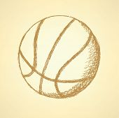 Sketch Basketball Ball, Vector Vintage Background