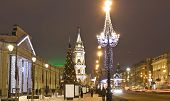 image of prospectus  - Nevskiy prospectus avenue in electric Christmas decoration and New Year  - JPG