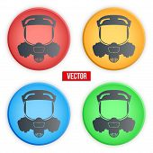 picture of respiration  - set of colorful Symbols protective respirator gas mask - JPG