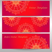 stock photo of macrame  - vector delicate lace round mandala pattern card template - JPG