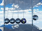 Newtons Cradle Earth Elements of this image furnished by NASA