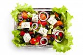 Airplane Food - Greek Salad. Isolated over White