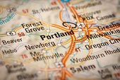 Portland City On A Road Map