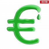 Currency euro in green liquid form.