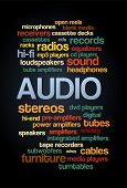 Audio Stereo Word Cloud Bubble Tag Tree Text vector on dark background