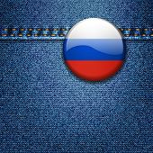 Bright Colorful Russian Federation Flag Badge on Denim Fabric Texture Jacket