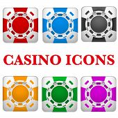 Set of Square icons multicolor casino chips