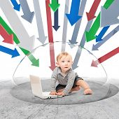 child with notebook inside of 3d protection bubble