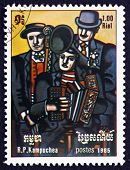 Postage Stamp Cambodia 1985 Three Musicians, By Fernand Leger