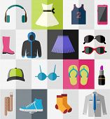 Various types of clothes and accessories for teenagers