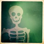 Instagram  filtered image of a Halloween skeleton hanging on a wall