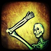 Instagram filtered image of a skeleton
