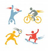active sports boys icons vector set 3