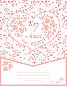 Cute Design For Greeting Card With Heart And Roses, Keys.