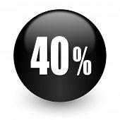 40 percent black glossy internet icon