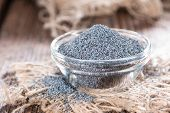 stock photo of opiate  - Portion of Poppyseed in a small bowl  - JPG