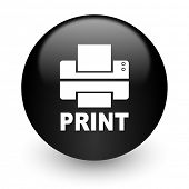 printer black glossy internet icon