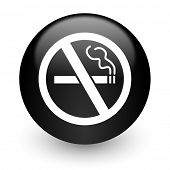 no smoking black glossy internet icon