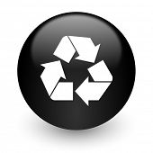 recycle black glossy internet icon