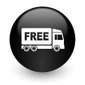 free delivery black glossy internet icon