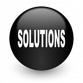 solutions black glossy internet icon