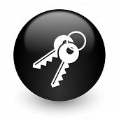 keys black glossy internet icon