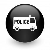 police black glossy internet icon