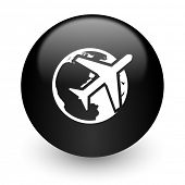 travel black glossy internet icon